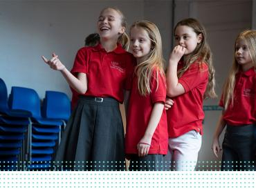 A group of LAMDA learners laughing in rehearsal