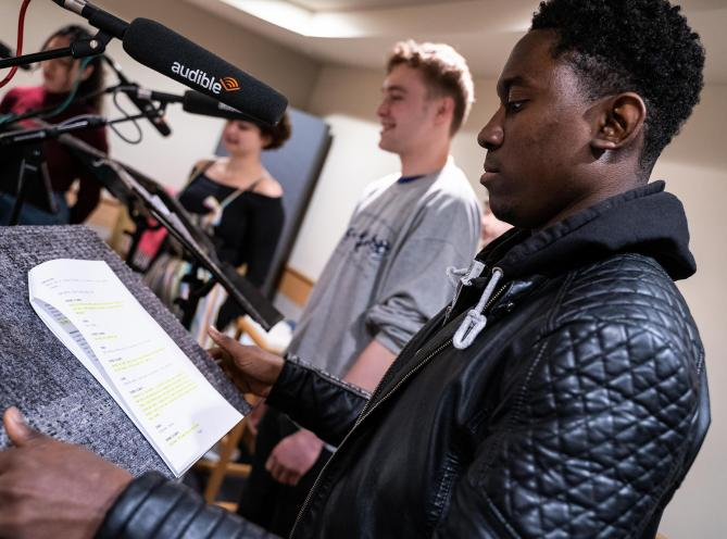 LAMDA acting student King Boateng at a recording session with Audible