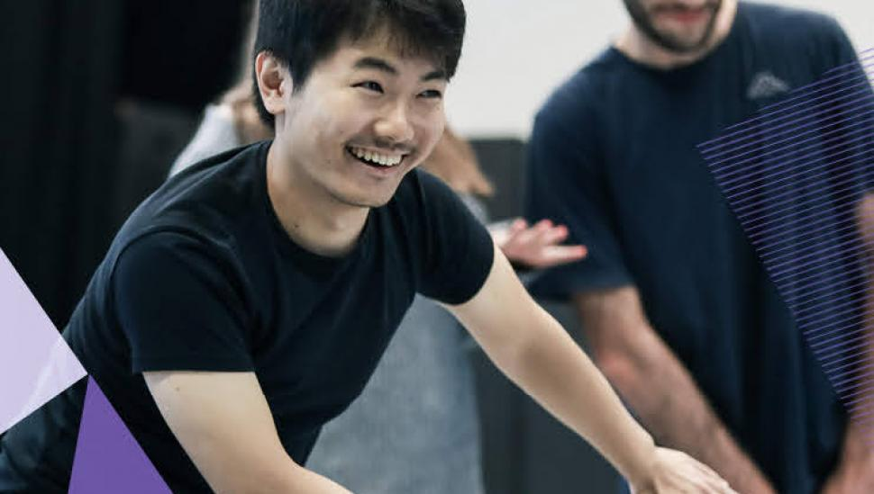 A young man participates in a movement class